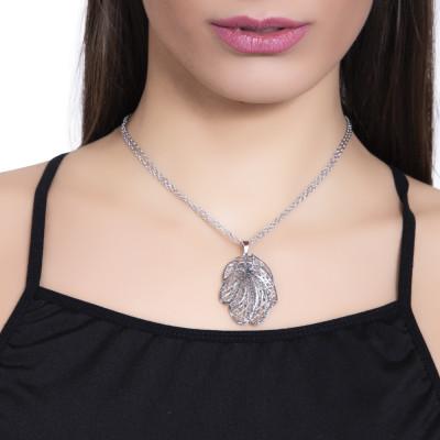 Collana rodiata con pendente a forma di foglia in glitter nero