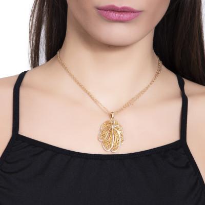 Collana dorata con pendente a forma di foglia in glitter silver