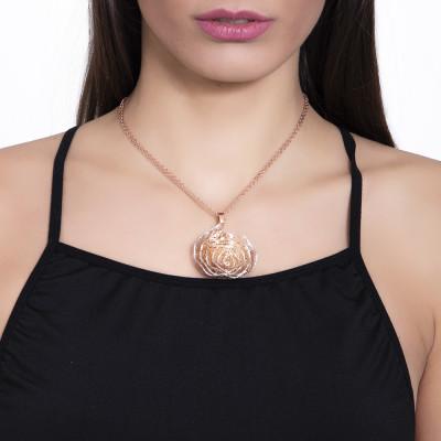 Collana rosata con pendente a spirale in glitter silver