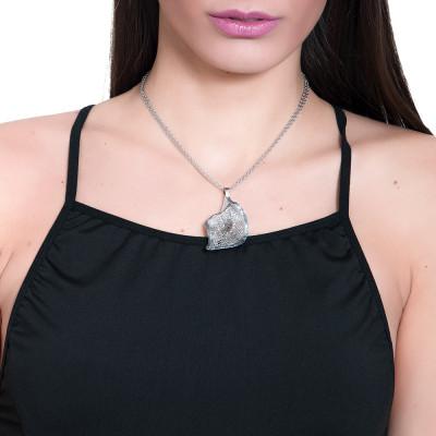 Collana rodiata con calla pendente in glitter nero