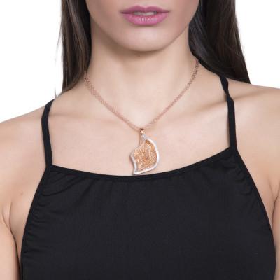 Collana rosata con calla pendente in glitter silver
