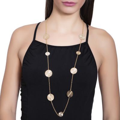 Collana lunga dorata con elementi decorativi a raggio e Swarovski