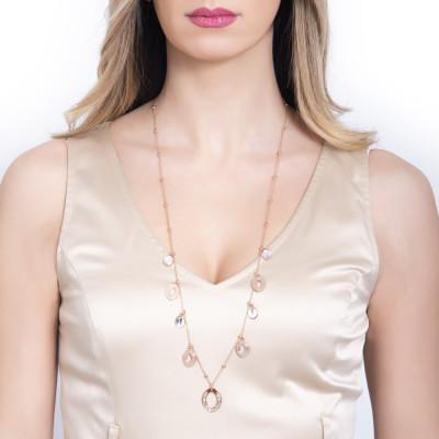 Collana rosata lunga con navette lisce e in Swarovski