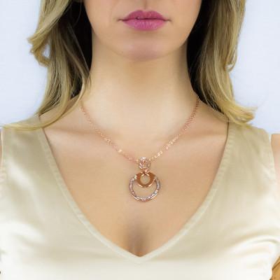 Collana rosata con pendente navette e Swarovski