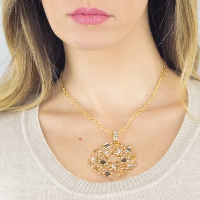 Collana dorata con rosone in Swarovski crysral rock crystal