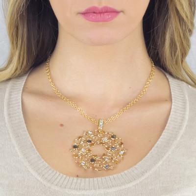 Collana dorata con pendente decorato di Swarovski