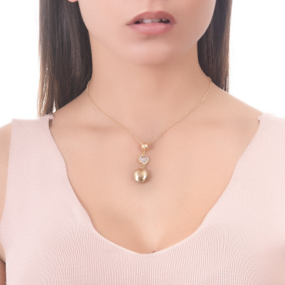Collana con elementi graffiati pendenti e cristallo crystal