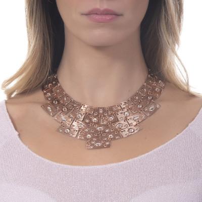 Collana con pettorale egiziano Swarovski rosa