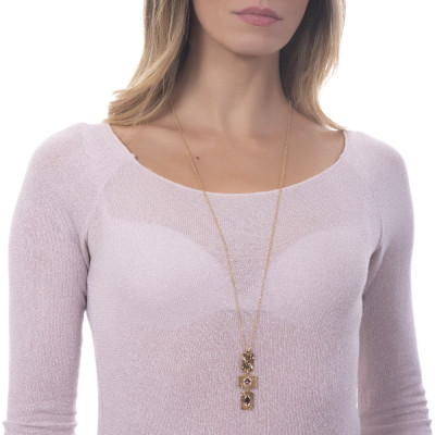 Collana lunga con pendente modulare e Swarovski rosa