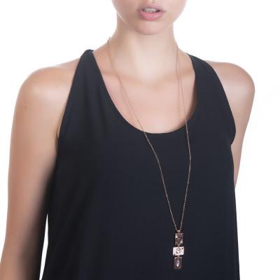 Collana lunga con pendente modulare e Swarovski crystal