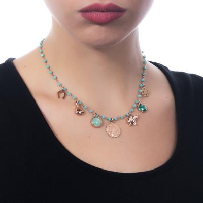 """Collana rosario con cristalli verde acqua e charms tema """"prosperità"""""""