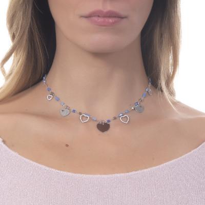 """Collana rosario con cristalli multicolor sfumature del blu e charms tema """"amore"""""""