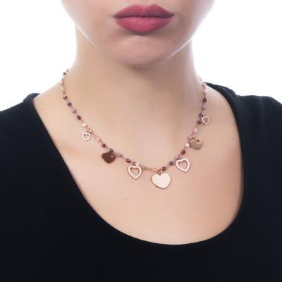 """Collana rosario con cristalli rosa e charms tema """"amicizia"""""""