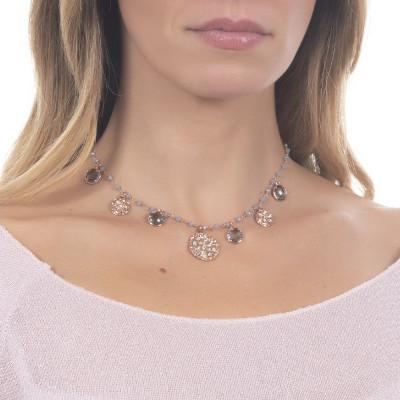"""Collana rosario con cristalli fumè e charms tema """"etnico"""""""