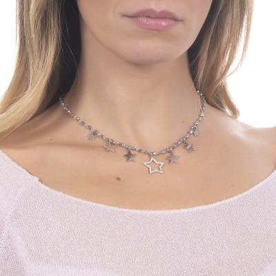 """Collana rosario con cristalli silver e charms tema """"stella"""""""