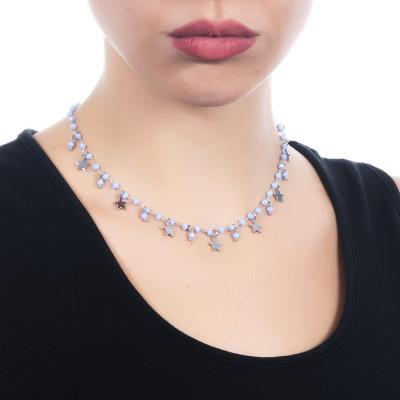"""Collana rosario con cristalli azzurri e charms tema """"stella"""""""