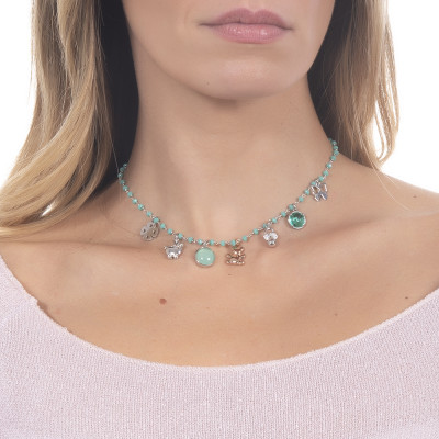 """Collana rosario con cristalli verde acqua e charms tema """"nascita"""""""