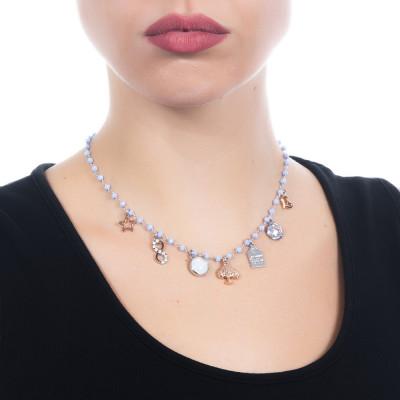 """Collana rosario con cristalli azzurri e charms tema """"famiglia"""""""