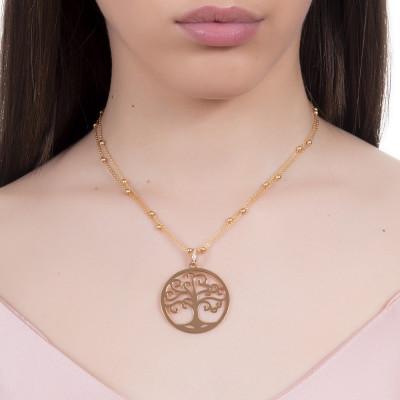 Collana dorata con ciondolo albero della vita e zirconi