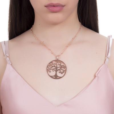 Collana rosata con pendente maxi e albero della vita