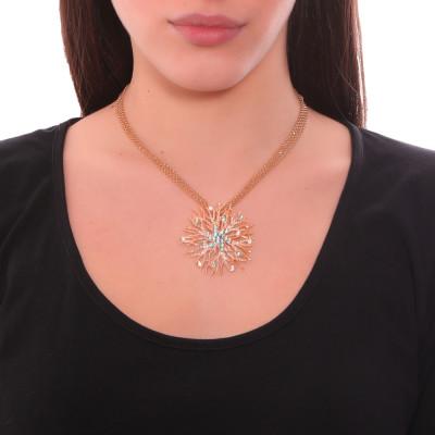 Collana doppio filo con pendente corallo e Swarovski crystal