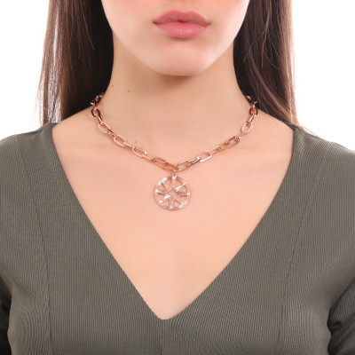 Collana placcata oro rosa a maglie rettangolari con pendente e Swarovski
