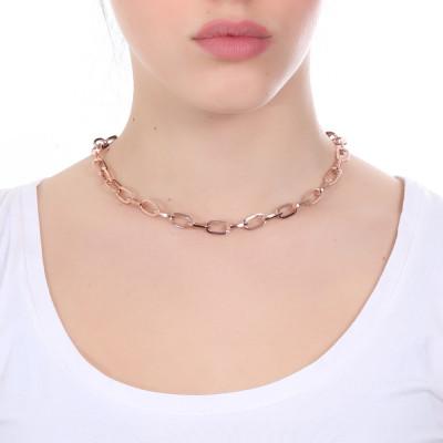 Collana placcata oro rosa a maglie rettangolari grandi