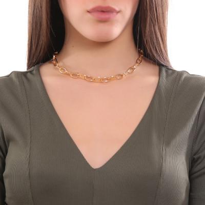 Collana placcata oro giallo a maglie ovali e Swarovski