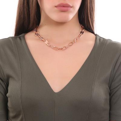Collana placcata oro rosa a maglie ovali e Swarovski