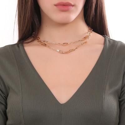 Collana placcata oro giallo doppio filo a maglie ovali e Swarovski