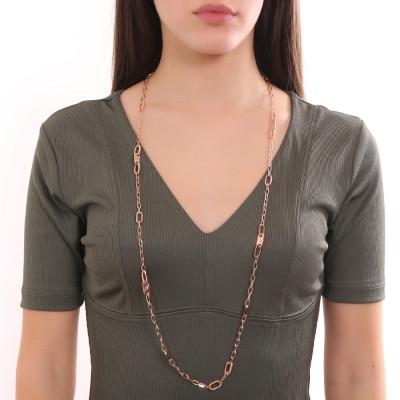 Collana lunga placcata oro rosa a maglie ovali e Swarovski