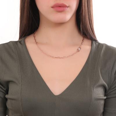 Collana corta placcata oro rosa a maglie ovali piccole e Swarovski