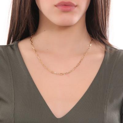 Collana corta placcata oro giallo a maglie ovali piccole