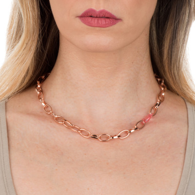 Collana a maglie ovali con cristallo Swarovski light rose