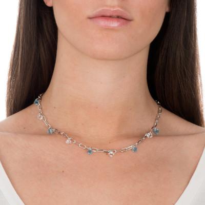 Collana a catena con cristalli Swarovski acquamarina e crystal