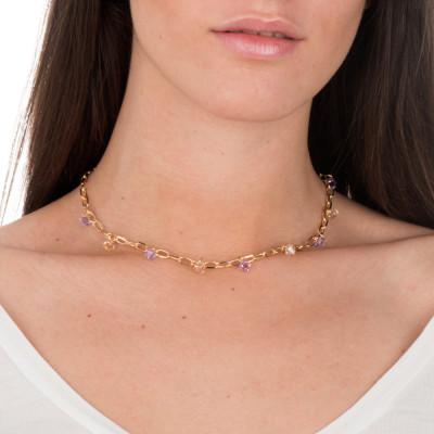 Collana a catena con cristalli Swarovski violet e golden shadow