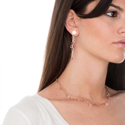 Collana a catena con cristalli Swarovski light rose e crystal
