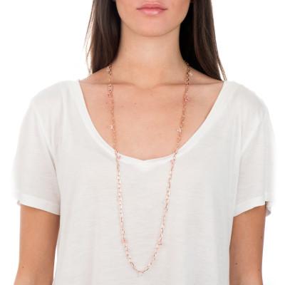Collana lunga a catena con cristalli Swarovski light rose e crystal