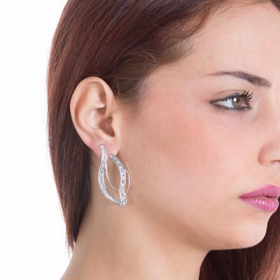 Orecchini con doppio pendente e Swarovski crystal rock crystal
