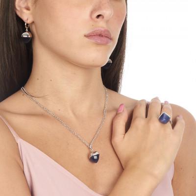 Orecchini mezzaluna con cristallo grande color tanzanite