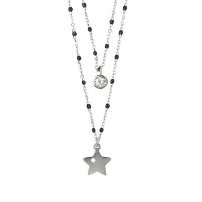 Collana doppio filo con stella e zircone