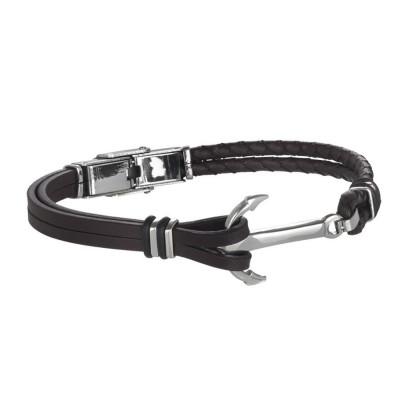 Bracciale doppio filo in cuoio marrone, chiusura ad ancora in acciaio e o-ring di caucciù