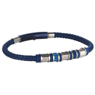 Bracciale in cuoio blu intrecciato, passanti in acciaio e o-ring
