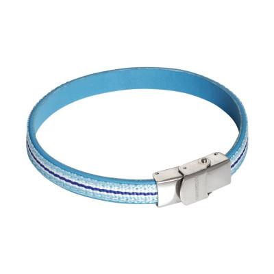 Bracciale in pelle naturale celeste ed inserti di nylon intrecciato bianco, azzurro e blu