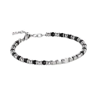 Bracciale in acciaio con sfere di ematite nera e zirconi