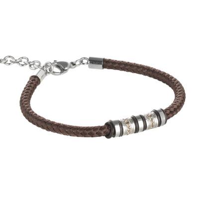 Bracciale in acciaio e cordone marino torchon marrone