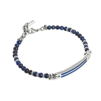 Bracciale con agata blu, piastrina centrale e pvd blu