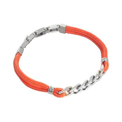 Bracciale in cordino marino arancione e treccia centrale in acciaio