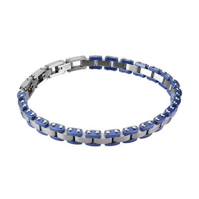 Bracciale a maglie modulari con ceramica blu
