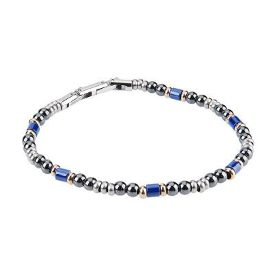 Bracciale in acciaio con sfere di ossidiana ed inserti in ceramica blu